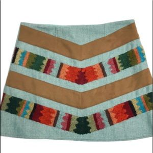 JUDITH MARCH SKIRT BOHO AZTEC ACCENT FRONT